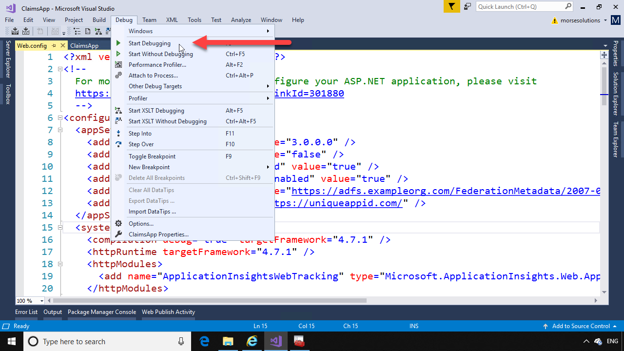 Creating an ASP NET Relying Party application for ADFS 2016 – Neil