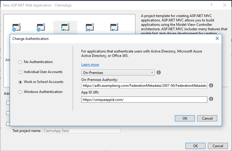 Creating an ASP NET Relying Party application for ADFS 2016
